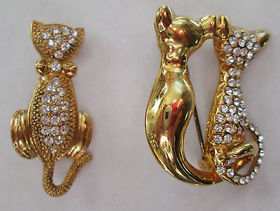 2 Lovely Vintage GOLD-TONE w/SPARKLY GLASS RHINESTONE CAT Pins Brooch