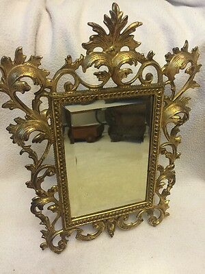 "ANTIQUE VICTORIAN STANDING VANITY MIRROR CAST METAL GOLD GILT 13"" tall"
