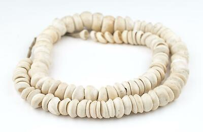 Natural West African Shell Beads White 17mm Ghana Unusual Large Hole Handmade