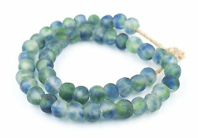 African Blue, Green, White Recycled Glass Beads (14mm) Ghana