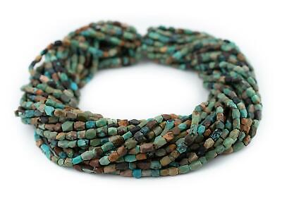 Faceted Dark Turquoise Stone Beads 6x4mm Afghanistan Green Gemstone