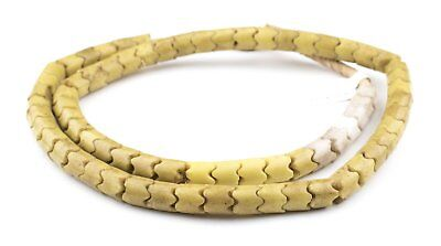 Wide Yellow Glass Snake Beads 9mm Nigeria African Unusual Large Hole Handmade