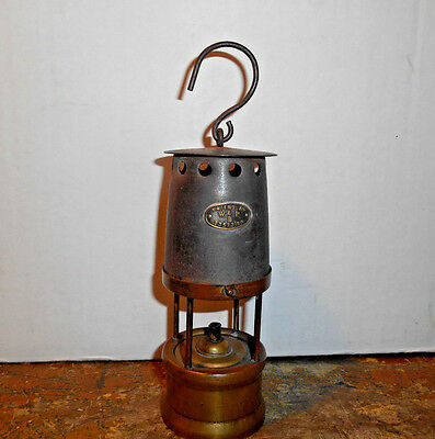 "ANTIQUE BRASS TIN MINERS LAMP LANTERN MARKED W & P B Patent #23573109  5 1/2"" NR"