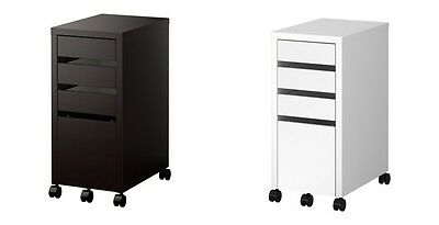 MICKE Drawer unit with drop-file storage Black-brown OR White 35x75 cm IKEA New