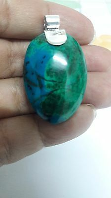 Chrysocolla peruvian tumbled  950 sterling silver pendant