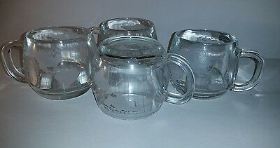 Set of 4 Nestle Nescafe World Globe Clear Etched Glass Coffee Mugs Cups VG