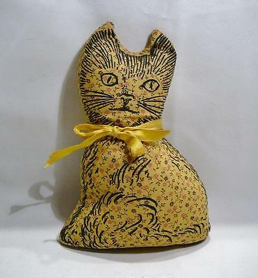 Pretty Vintage Primitive Look Small Stuffed Yellow Cloth Cat Pillow. Cute!!