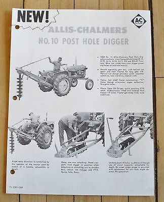 1960's Allis Chalmers No. 10 Post Hole Digger Sales Brochure