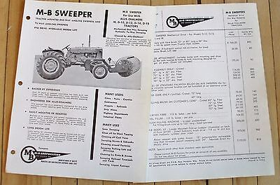 1960's Allis Chalmers D Series M B Sweeper Sales Brochure 2 Sheets