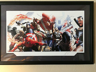 Signed & Numbered Alex Ross Marvel Heroes Limited Edition Print 55/350 Framed