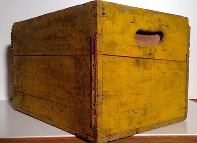 Antique Canada Dry Spur Wood Advertising Crate Box w/ Yellow Paint NR