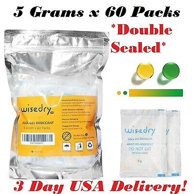 5 Gram x 60 Packs Food Grade Silica Gel Desiccant Packets Orange NEW, 3 Day USA!