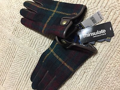 AWESOME RALPH LAUREN MEN'S LEATHER THINSULATE Tweed TOUCH GLOVES Large