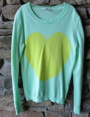 Crewcuts Girls' Mint Green Sweater With Heart Size 14 100% Cotton