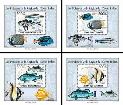 Z08 Cmdelux06perf COMORES 2010 Fishes in Region of Indian Ocean 4 x s/s MNH