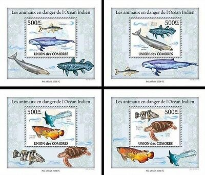 Z08 Cmdelux05perf COMORES 2010 Endangered Animals of Ocean 4 x s/s MNH