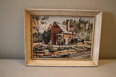 Vintage Framed Paint By Number Painting Of An Old Mill