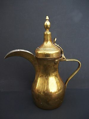 Turkish Islamic Arabic Middle Eastern Dallah Brass Coffee Tea Pot Signed Marked
