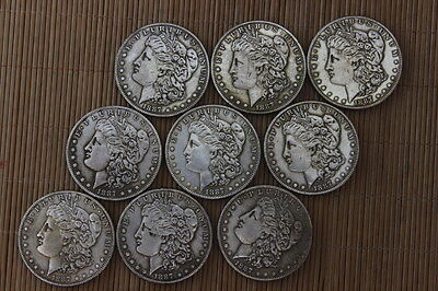 9PCS Collection international trade in the early 1887 years silver COINS