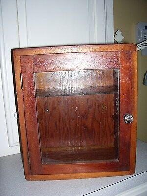 Antique Vintage Cedar Wood Display Cabinet Curio Box Glass Door & Shelf
