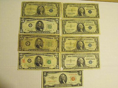 OLD MONEY LOT - 1934 $5 FRN, 1957 $1 SILVER CERTIFICATES, STAR, $2 NOTE, $5 FRNs