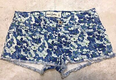 Abercrombie Kids Girls Floral Denim Cutoff Shorts Size 12