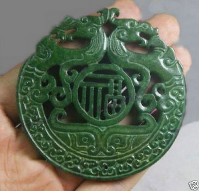 Chinese Old Handwork Green Jade Carved Dragon Pendant#4