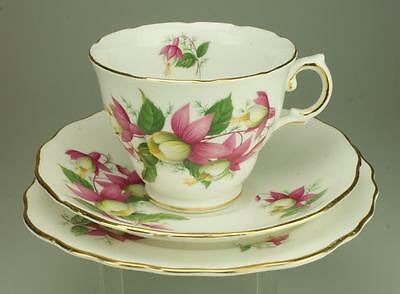 Vintage 1960's Royal Vale Pink Fuchsias Trio Cup, Saucer and Side Plate KC234