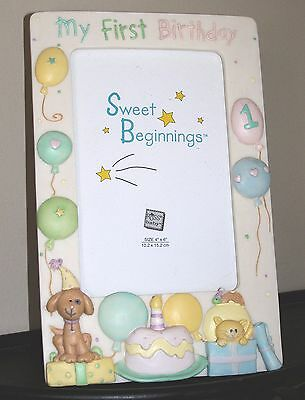 """Sweet Beginnings Picture Frame by Russ My First Birthday photo 4 x 6"""" Puppy Cat"""