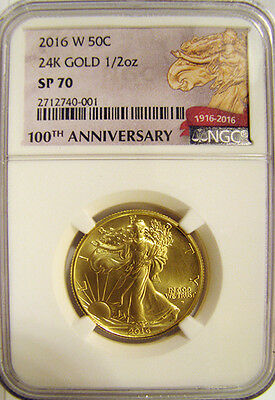 2016-W 1/2 oz. Gold Walking Liberty Half Centennial NGC SP70 (100th) + OGP