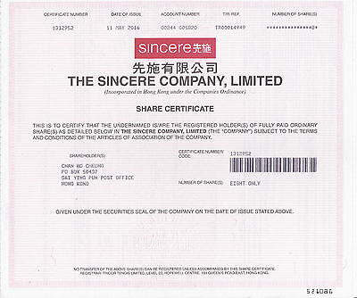 Hong Kong Sincere 8-Shares certificate 2016