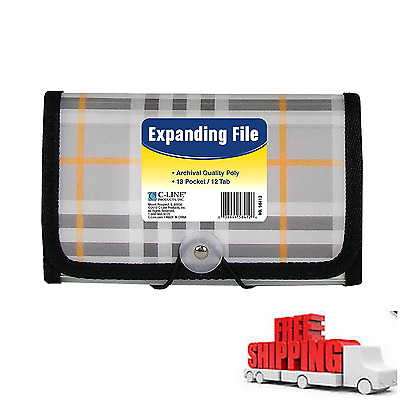 Office School Expanding Poly File Jacket 13 Pocket Organizer Coupon Receipt