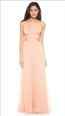 $995 NWT Marchesa Notte Organza Bow Strapless Gown Dress 12