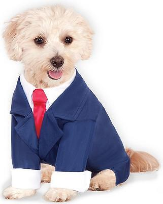 Business Suit Power Trump Blue Red Fancy Dress Halloween Pet Dog Cat Costume