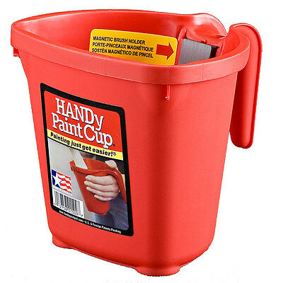 HANDy Paint Cup 16 oz Paint Pail Magnetic Brush Holder Easy Cleanup Disposable