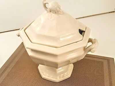 Red Cliff Ironstone Soup Tureen w/o Ladle and Saucer Large Vintage White