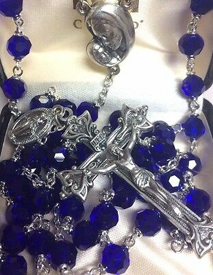 Rosary Beautiful Sapphire Blue Creed  Great Gift for First Communion