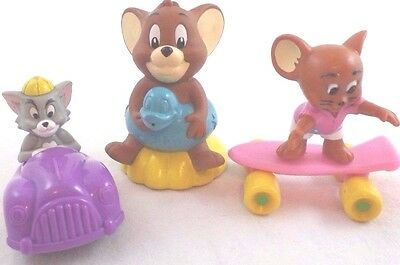 Tom & Jerry PVC & Plastic 3 Toy Lot Car Skateboard & Ducky Ring Cat & Mouse Set
