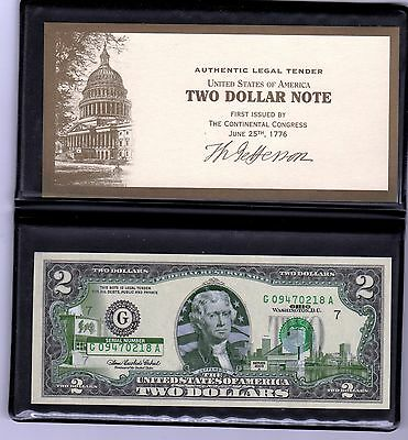 Ohio $2 Two Dollar Bill - Colorized State Landmark - Uncirculated