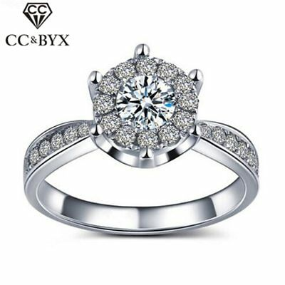 Elegant Rings With Austrian Crystal White Gold Plated Wedding Rings For Women Cz