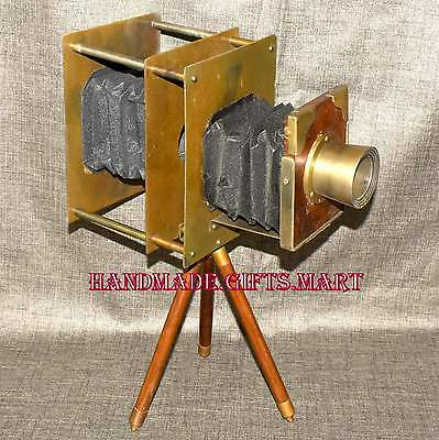 Vintage wooden camera mini retro film make collectible replica home desk décor,