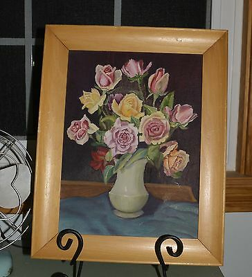 Old Original Oil on Canvas Painting of Colored Roses in Vintage Vase signed