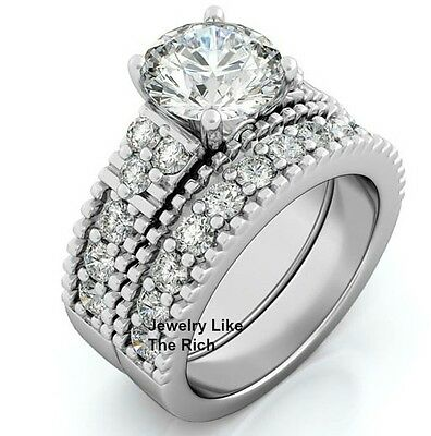 Sterling Silver 14k White Gold Round Diamond cut Engagement Ring Wedding Set