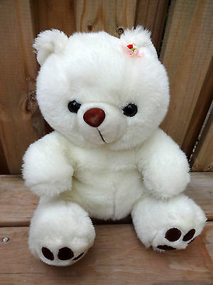 WHITE TEDDY BEAR Valentine's Plush - Soft and Cute 12'' TALL + FREE SHIPPING