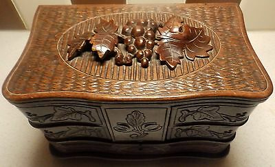 Fine Quality 19th C Black Forrest Jewel Box Top Depicting Vine Leaves and Grapes