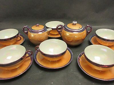 Antique Vintage HAND PAINTED NIPPON Eggshell Lusterware 14 pc Tea Set Japan