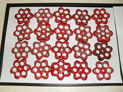 Lot of 20 red aluminum water valve handle handles for steampunk arts & crafts