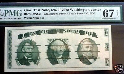GIORI TEST NOTE, ca.1970'S WASHINGTON CENTER NO S/N PMG 67 EPQ GEM QUALITY .