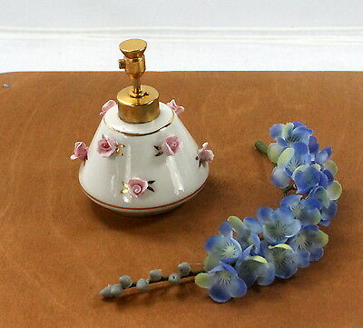Vintage White DeVilbiss Atomizer Perfume Bottle with Pink Roses ccc113