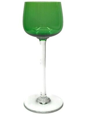 Baccarat Colbert Chartreuse Yellow Green Cased Crystal Wine Goblet Signed Pottery & Glass